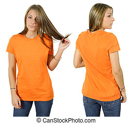 Female wearing blank orange shirt - Young beautiful female...
