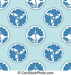 flowers lotus polka dot flat simlpe seamless pattern vector...