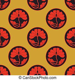 flowers lotus polka dot seamless pattern flat simlpe vector...