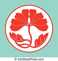 flowers lotus flat simlpe pattern vector illustraton - red...