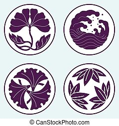 flower and wave and leaf lotus flat simlpe vector...