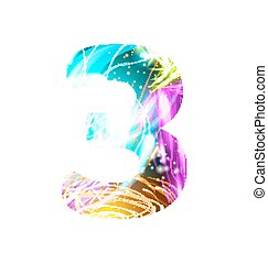 Glowing Light effect neon Font. Color Design Text Symbols. Shiny number 3