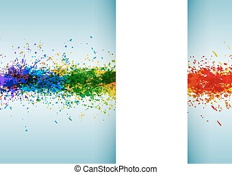 Bright watercolor stains. Paint splashes background poster...