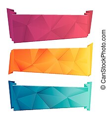 Color triangular ribbon and banner set. Ribbons from paper....