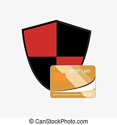shield with credit card system security design vector...