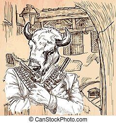 Gunman. Bison - An hand drawn vector. Line art. - Gunman....