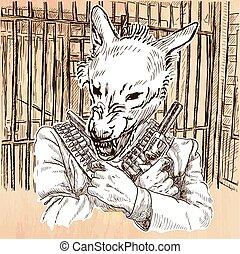 Gunman. Wolf - An hand drawn vector. Line art. - Gunman....