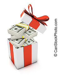 Gift box full with dollar banknotes isolated on white