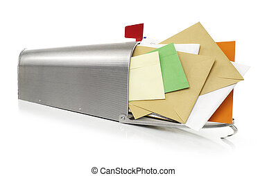 Mailbox full with envelopes, white background