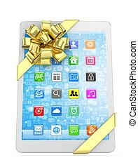 White tablet with bow 3D rendering - White tablet with...