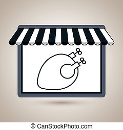 store market shop chicken vector illustration eps10