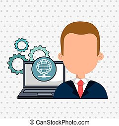 man laptop gears icon - man laptop gears vector illustration...