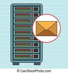 server computer email envelope vector illustration eps10 eps...