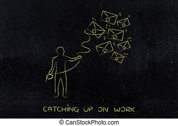 person with lasso catching envelopes, email and...
