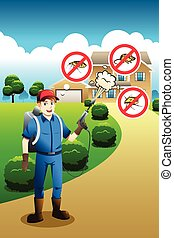 Exterminator Service Poster - A vector illustration of...