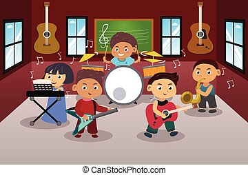 Kids Playing Music - A vector illustration of kids in music...