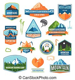 Mountaineering Labels And logos - Set Of Colorful...
