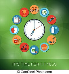 Time for fitness - Fitness And Sports Equipment Concept...