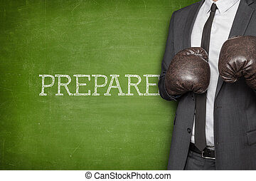 Prepare on blackboard with businessman on side - Prepare on...