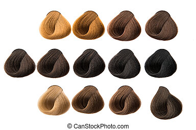 lock of hair color on a white background