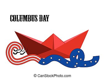 Columbus Day paper ship and ribbon with American flag