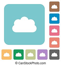 Flat cloud icons on rounded square color backgrounds.