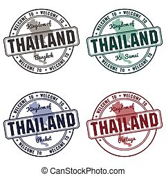 stamp with Thailand map made in phuket samui bangkok -...