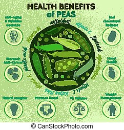 Peas Health Benefits 03 A - Beautiful handdrawn pattern in...