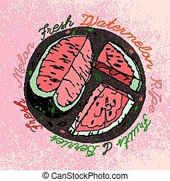 Hand drawn Watermelon 03 A