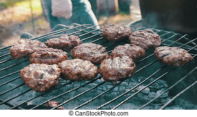 Meat for Burgers Prepared On The Grill Burger meat grilled...