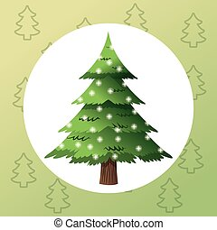merry christmas pinetree design - pine tree plant icon....