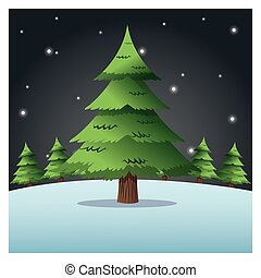 merry christmas pinetree design - pine tree plant and snow...
