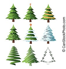 merry christmas pinetree design - pine tree plant icon set....