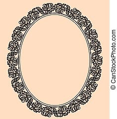 Black lace frame - Oval black lace frame on a beige...