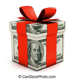 Gift box made of dollar banknotes isolated on white