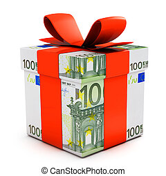 Gift box made of euro banknotes isolated on white