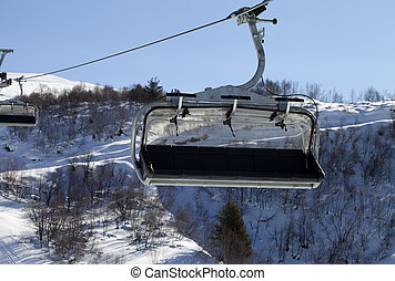 Close-up view on chair-lift in ski resort