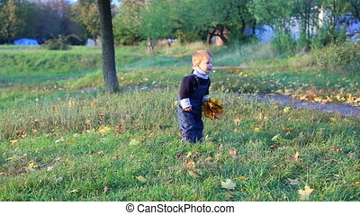 Little boy throwing the bunch of autumn leaves