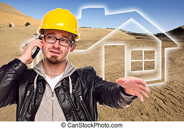 Contractor at a Construction Site and Dirt Lot - Tractor at...
