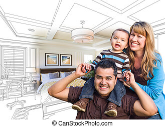 Mixed Race Family With Baby Over Bedroom Drawing and Photo