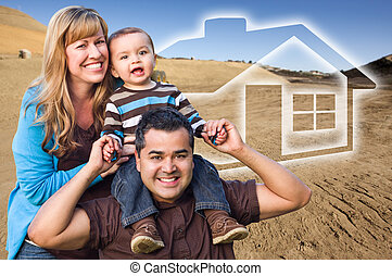 Mixed Race Family at Construction Site with Ghoosted House...
