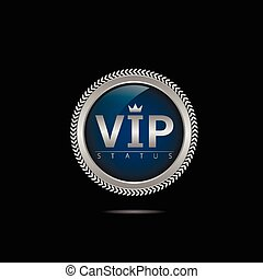 VIP silver label Members only Glamour emblem, royal badge