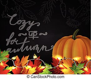 Chalkboard with autumn leaves and pumpkin - Chalkboard with...