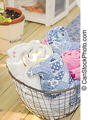 Rolled up blankets - Image of garden blankets rolled up in a...
