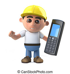 3d Construction worker with cell phone - 3d render of a...