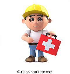 3d Construction worker arrives with first aid kit - 3d...