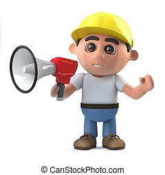 3d Construction worker shouts through a megaphone - 3d...