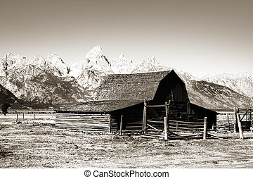 Old Mormon barn in monochrome
