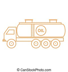 Stylized icon of the oil tankerfuel tanker on a white...