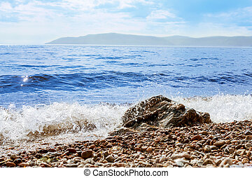 coast of Lake Baikal. Listvyanka Russia, closeup with stones